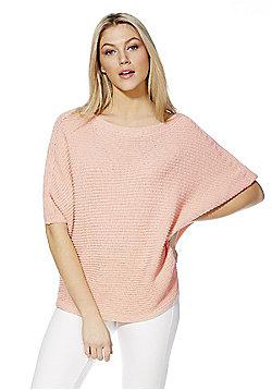 F&F Waffle Knit Batwing Sleeve Jumper - Pink