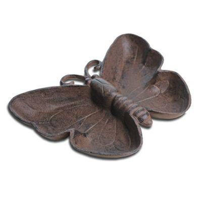 Antique Finish Cast Iron Butterfly Bird Bath / Feeder Garden Accessory