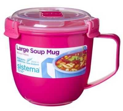 Sistema Large Klip It Microwave Soup To Go Mug, 900ml, Pink