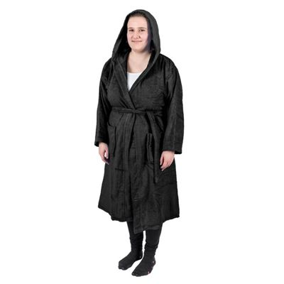 Homescapes Black 100% Combed Egyptian Cotton Hooded Adults Bathrobe, Small/Medium