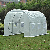 Outsunny Large Walk-in Greenhouse Poly Tunnel White (3.5L x 2W x 2H (m))