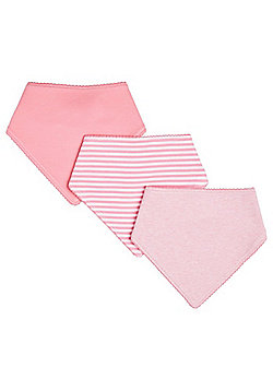 F&F 3 Pack of Marl and Striped Dribble Bibs - Pink