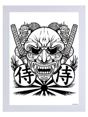 Unorthodox Samurai Mask White Wooden Framed Mini Poster 35 x 45cm