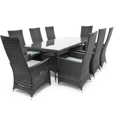 Maze Rattan - Ruxley 8 Seat Dining Set - 2m x 1m - Grey