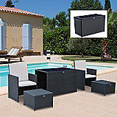 Outsunny 5PC Outdoor Rattan Furniture Set Wicker Dining Set w/ Footrest