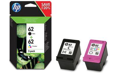 HP 62 2-pack Black/Tri-color Original Ink Cartridges 200pages 165pages