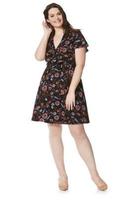 Lovedrobe Floral Print Plus Size Wrap Dress Multi 16