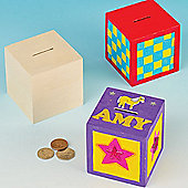 Wooden Cube Money Boxes (Pack of 2)