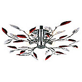 Modern Semi Flush Chrome Ceiling Light with Clear and Red Acrylic Leaves