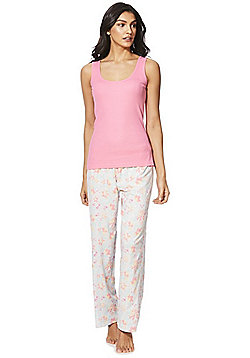 F&F Vest Top and Floral Print Lounge Pants Pyjama Set - Pink