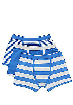 F&F 3 Pack of Plain and Striped Trunks - Blue & Grey