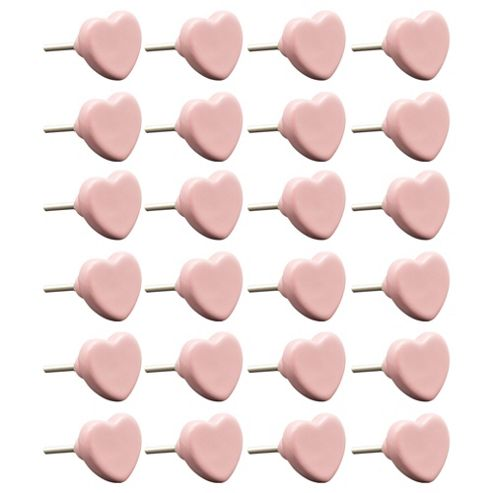 Ceramic Door Cabinet Wardrobe Knob Handle Set - Heart - Pink x24