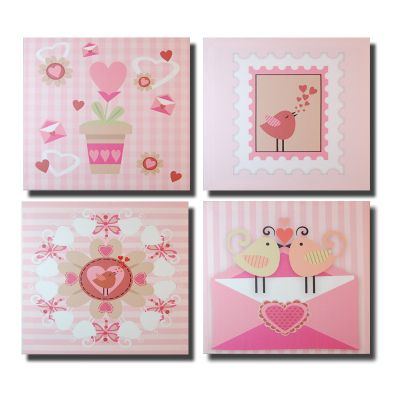Novus Imports Pink Love Birds Set of 4 Canvas Print