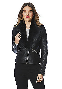 F&F Faux Leather Faux Fur Trim Biker Jacket - Black