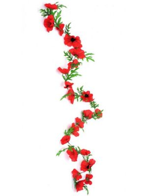 Artificial - Poppy Garland - Flame Red