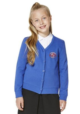 Girls Embroidered Cotton Blend School Sweatshirt Cardigan with As New Technology 9-10 years Royal blue