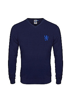 Chelsea FC Mens Knitted Jumper - Navy