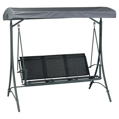 Valencia Metal/Waterproof Woven Textile 3 Seater Swing Bench - Black