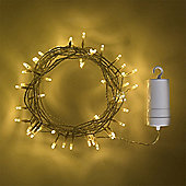 100 Warm White LED Outdoor Battery Fairy Lights on Clear Cable