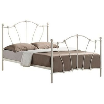Ivory Victorian Style Metal Bed Frame - Double 4ft 6
