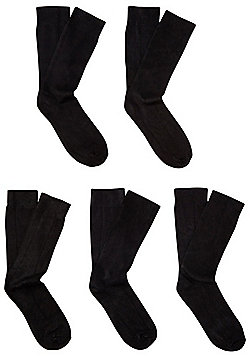 F&F 5 Pair Pack of Socks with Bamboo - Black