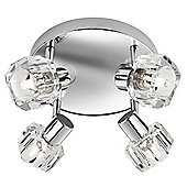 Modern 4 Spot Bathroom Ceiling Light with Crystal Glass Heads