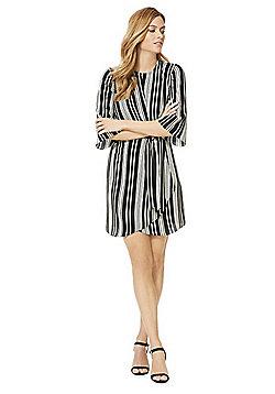 F&F Knot Front Striped Dress - Black & White