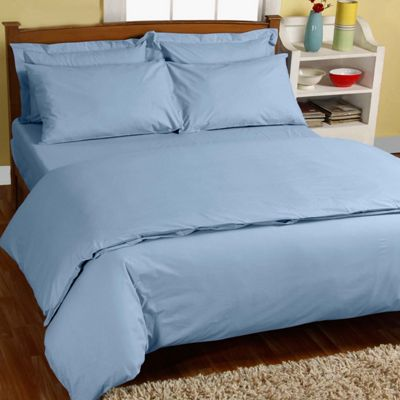 Homescapes Blue Egyptian Cotton Single Duvet Cover with One Pillowcase, 200 TC
