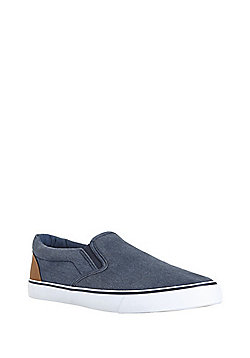 F&F Slip-On Canvas Plimsolls - Denim blue