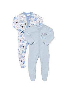 F&F 2 Pack of Whale Print Sleepsuits - Blue
