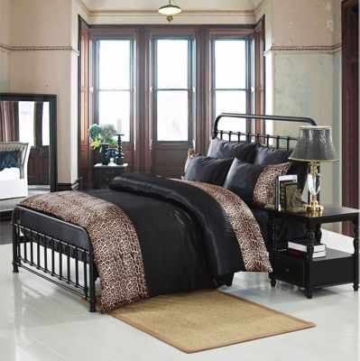 Tiger Black 6 Piece Luxury Double Bedding Duvet Cover Set