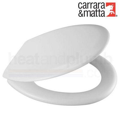 Carrara and Matta Danube CP Moulded Wood Toilet Seat, White, Chrome Hinges