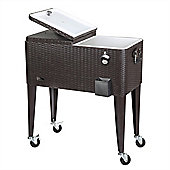 Palm Springs Deluxe 75L Rattan Rolling House Party Drinks Cooler Cart