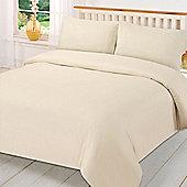 Brentfords Plain Duvet Cover with Pillowcase Bedding Set - Cream
