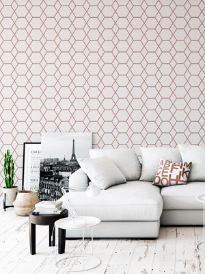 Casca Geometric Wallpaper Rose Gold Muriva 147503