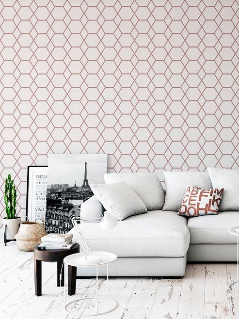 Casca Geometric Wallpaper Rose Gold Muriva 147503