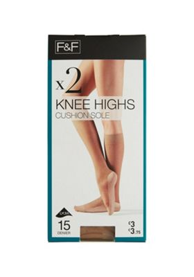 F&F 2 Pair Pack of Cushioned Sole 15 Denier Knee Highs One Size Natural