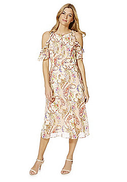 F&F Paisley Print Ruffle Trim Cold Shoulder Midi Dress - Blush pink