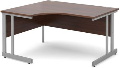 DSK Momento 1400mm Left Hand Ergonomic Desk - Walnut