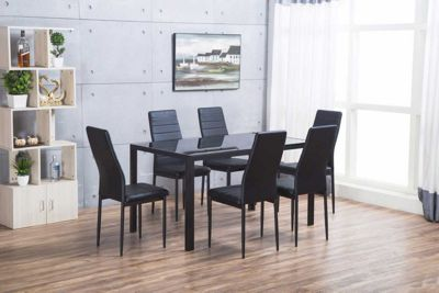 Roma Black Metal And Glass Dining Table And 6 Montero Dining Chairs Set