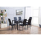 Roma Black Metal And Glass Dining Set
