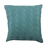 Highams Cable Knit Cushion Cover Unfilled 43 x 43 cm - Duck Egg
