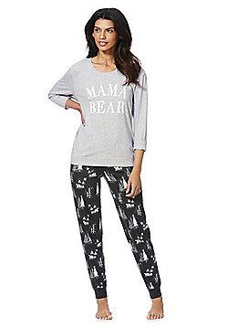 F&F Mama Bear Slogan Christmas Pyjamas - Grey