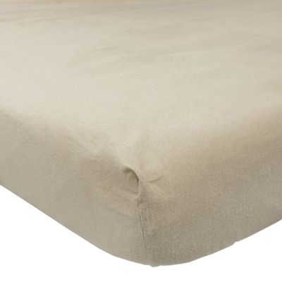 Homescapes Beige Brushed Cotton Fitted Sheet 100% Cotton Luxury Flannelette, Single