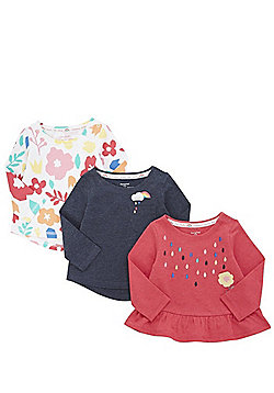 F&F 3 Pack of Flower Applique and Print Long Sleeve Peplum T-Shirts - Multi