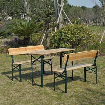 Outsunny 3PC Wooden Garden Furniture Set 2 Bench Table Patio Picnic