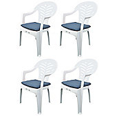 Pack of 4 Garden Chair Cushions - Fits Resol Palma / Cool - Blue