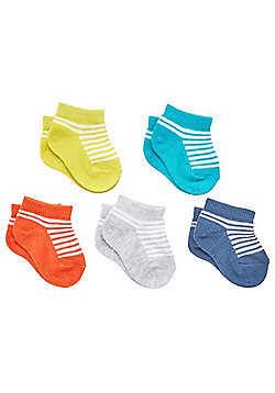 F&F 5 Pair Pack of Striped Trainer Socks - Multi