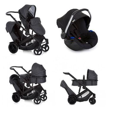 Hauck Duett 3 Tandem Stroller Melange Black with Car Seat