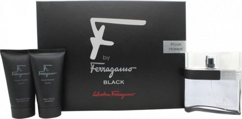 Salvatore Ferragamo F by Ferragamo Black Gift Set 100ml EDT + 75ml Aftershave Emulsion + 75ml Shower Gel For Men